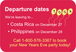 Call 1-800-576-3367 to book your New Years Eve party today!